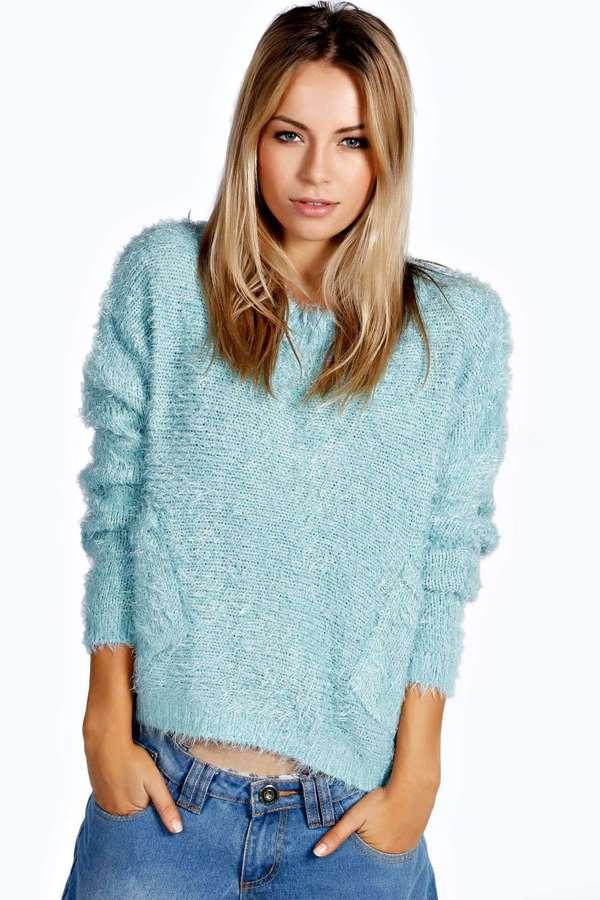 ... Light Blue Fluffy Crew-neck Sweaters Boohoo Patty Scoop Neck Fluffy  Oversized Jumper ... c331cf43c