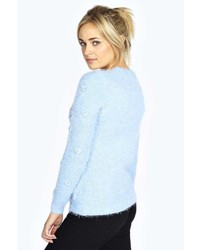... Light Blue Fluffy Crew-neck Sweaters Boohoo Rose Faux Pearl Flower Fluffy  Jumper Boohoo Rose Faux Pearl Flower Fluffy Jumper ... a1a2d3c5c