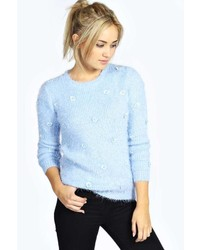 Womens Light Blue Fluffy Crew Neck Sweaters By Boohoo Womens Fashion
