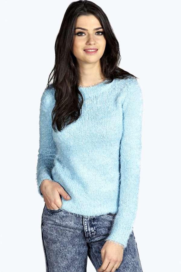 ... Light Blue Fluffy Crew-neck Sweaters Boohoo Rosie Fluffy Knit Jumper ... 872203cbb