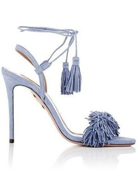 Light Blue Fringe Suede Heeled Sandals