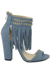 Denim blue tilly fringe embellished sandal medium 851591