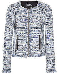 Karl Lagerfeld Satin Trimmed Fringed Metallic Tweed Jacket Blue