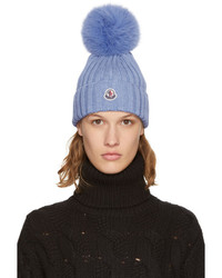 Blue fur pom pom beanie medium 5219028