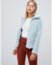 Emory Park Zip Front Collared Coat In Faux Fur
