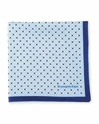 Ermenegildo Zegna Geometric Cross Silk Pocket Square Blue