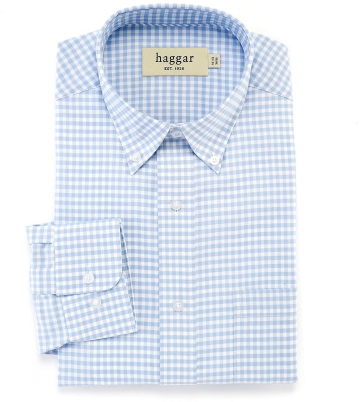 0c23ad426a9 ... Light Blue Gingham Dress Shirts Haggar Classic Fit Gingham Checked  Oxford Easy Care Button Down Collar Dress Shirt ...