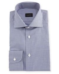 Micro gingham cotton dress shirt medium 4985711