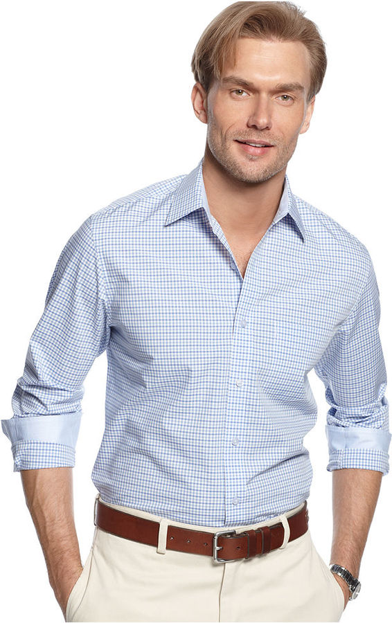 Tasso elba shirt long sleeve gingham shirt where to buy for Mens blue gingham shirt
