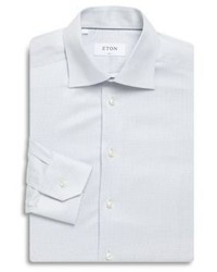 Eton Thin Gingham Print Slim Fit Cotton Dress Shirt