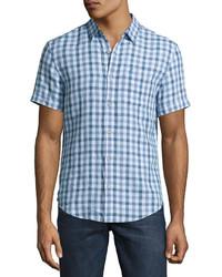 Original Penguin Short Sleeve Linen Gingham Shirt Blue