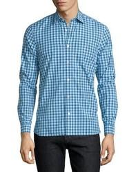 Brit garrison gingham long sleeve sport shirt light blue medium 749217
