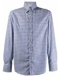 Brunello Cucinelli Check Print Cotton Shirt