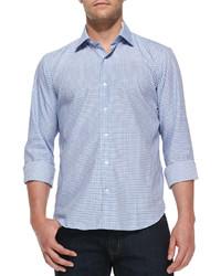 Culturata gingham check woven shirt light blue medium 114567