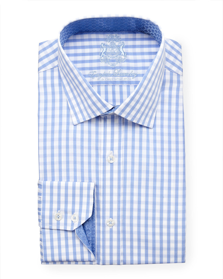 English Laundry Gingham Dress Shirt Blue Where To Buy