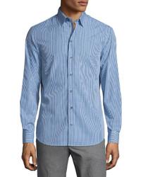 Gingham long sleeve sport shirt blue medium 601247