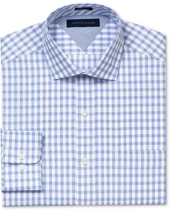 Tommy hilfiger dress shirt slim fit gingham long sleeved for Tommy hilfiger gingham dress shirt