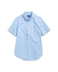 Light Blue Gingham Short Sleeve Shirt