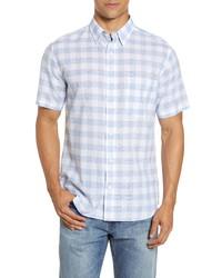 Faherty Cloud Blend Check Short Sleeve Button Up Shirt
