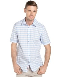 Report Collection Light Blue Gingham Stripe Short Sleeve Shirt
