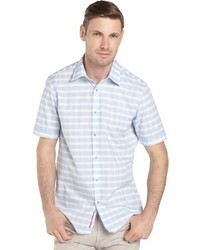 Report Collection Light Blue Gingham Stripe Short Sleeve Shirt