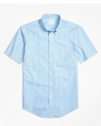 Brooks Brothers Non Iron Regent Fit Micro Check Short Sleeve Sport Shirt