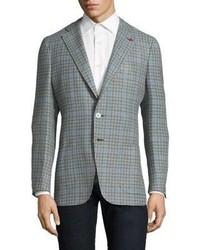 Slim fit gingham wool cotton sportcoat medium 3701888