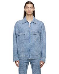 Givenchy Blue Denim 4g Jacquard Jacket