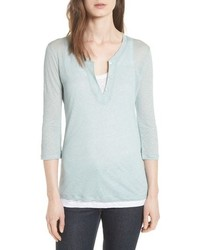 Majestic Filatures Double Layer Henley Top