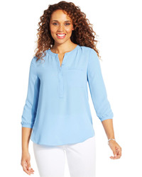 NYDJ Petite Solid Three Quarter Sleeve Henley