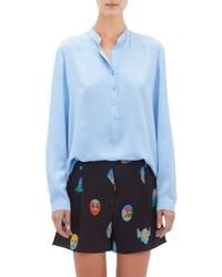 Stella McCartney Silk Henley Blouse Blue