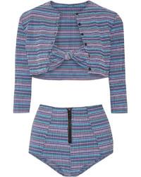 Lisa Marie Fernandez Poppy Striped Bandeau Bikini Bright Blue