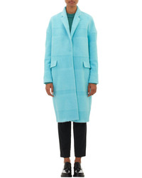Textured stripe oversized coat blue medium 76835