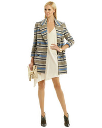 Yigal Azrouel Yigal Azroul Block Stripe Wool Coat