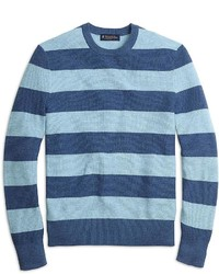 Men's Light Blue Horizontal Striped Crew-neck Sweater, Navy Skinny ...
