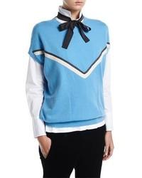 Brunello Cucinelli Cashmere Cap Sleeve Pullover With Monili Stripe
