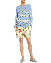 Gucci Striped Cashmere Sweater With Crystal Embroidery Flora Knight Print Silk Shirt Flora Knight Print Cotton Canvas Short