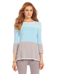 Stripe print pointelle hem hi lo sweater medium 300258