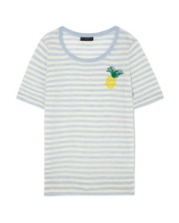 J.Crew Embroidered Striped Merino Wool T Shirt