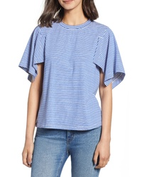 CURRENTLY IN LOVE Stripe Flutter Sleeve Tee