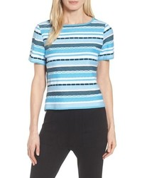 Ming Wang Stripe Jacquard Top