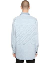 Off-White Distressed Stripes Cotton Denim Shirt