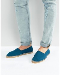 Asos Slip On Espadrilles In Textured Blue Stripe