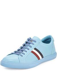 Moncler Monaco Striped Leather Low Top Sneaker Light Blue