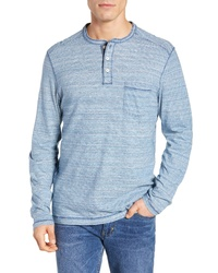 Light Blue Horizontal Striped Long Sleeve Henley Shirt