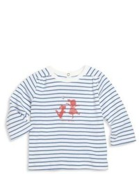 Petit Bateau Babys Striped Graphic Long Sleeve Tee
