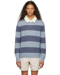 Polo Ralph Lauren Blue Striped Wool Rugby Sweater