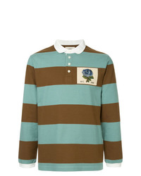 Kent & Curwen Rose Patch Striped Polo Shirt