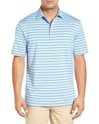 Light Blue Horizontal Striped Polo