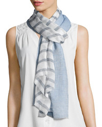 Tory Burch Double Stripe Voile Scarf Bluewhite